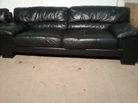 3/4 Seater Black Leather Sofa Couch - DELIVERY AVAILABLE