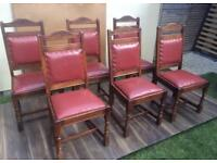 Fantastic Solid Oak Vintage Dining 6 people Table and 6 Chairs With Leather Pads