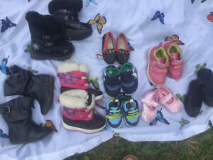 Size 7 girl toddler shoes, 9-12 mth boy shoes