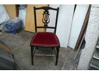 Chair, small dark wood dining chair with red velvet seat.