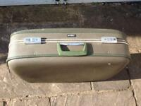 VINTAGE RETRO GREEN ANTLER SUITCASE STORAGE & TRAVEL