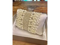 Bridal bag pearls and crystal clutch wedding