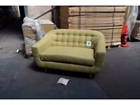 2-SEAT LIME GREEN SOFA WITH WOODEN BEECH LEGS - CLASSIC DESIGN