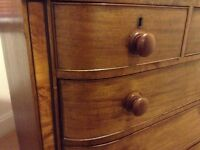 Chest of drawers in rich golden brown wood with lighter walnut inlay