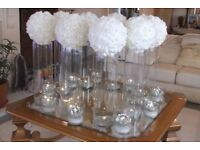 Wedding table decorations. 10 vases 8 med 2 larger 10 beautiful white rose diamante balls.