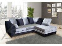 BLACK OR BLACK AND SILVER crushed VELVET sofa set IN 3+2 SEATER OR CORNER SOFA