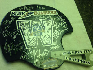 25th (1988) signed Grey Cup Champions Blue Bomber helmet plaque