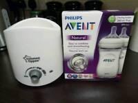 Tommee Tippee bottle warmer & Set of 2 Philips Avent feeding bottle set