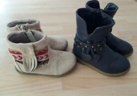 2 x pairs of girls boots. Toddler size 6