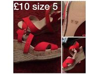 Red wedges - size 5 Like New!