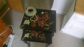 Unique hand painted coffee tables nest of 2 black with roses