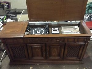 Vintage Eight Track/Record Player Stereo Cabinet