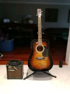 Acoustic electric guitar and amp