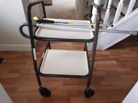 Wheeled table and walking stick