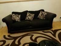 Urgent sale genuine half leather half fabric sofa set