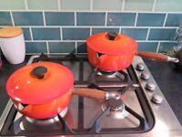 2 Le Creuset Pans in Volcanic Orange