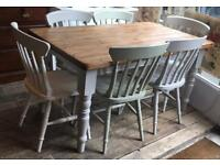 Shabby Chic Pine Dining Table With Six Painted Chairs