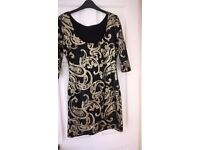 Jane Norman sequin dress in black and gold