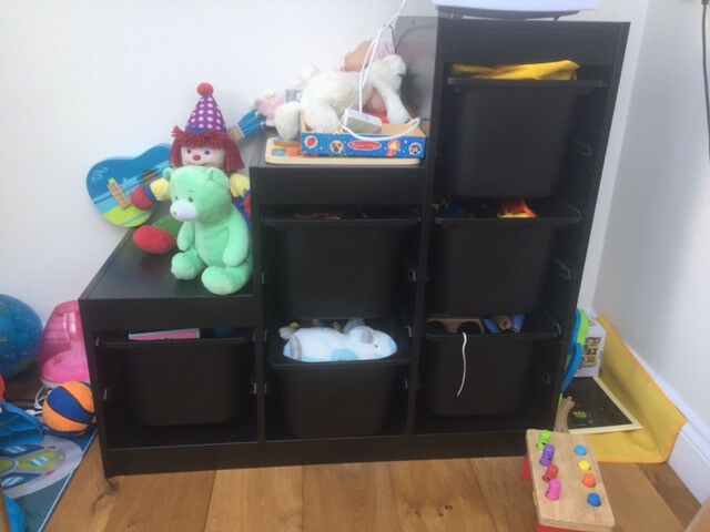 Toy storage with boxes -- IKEA TROFAST -- all in black
