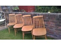 Spindle Back Chairs..Danish Style..X 4..VGC