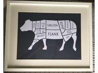 Set of 3 x Framed Butcher Meat Cuts Prints