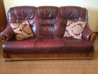 Leather Suite - Sofa 2 Chairs & Foot stool