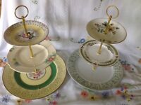 Vintage china and pottery mixed cake stands