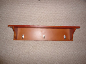 "Wall Shelf with 3 Hooks, Wood, Approx 23"" wide by 4.25"" deep"