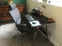 Black glass topped desk and office chair