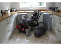 Egg stroller pushchair, carrycot travel system including Cybex Cloud Q plus reclining car seat