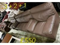 Brown leather 3 + 2 + 1 sofa