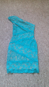 Bebe Med. Teal and nude Dress