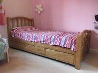 Ash 3 drawer single bed frame inc mattress
