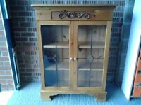 Hallway/lounge/Kitchen solid pine bookcase with glass doors