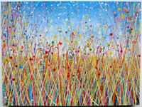 LARGE ABSTRACT MODERN ART NEW YELLOW FLOWER MEADOW LANDSCAPE PAINTING ON BOX CANVAS | Free Delivery
