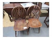 Antique Spindle back wooden strong kitchen chairs x2. ELM AND ASH WINDSOR CHAIR