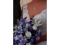 Beautiful silk and foam Tear drop Bridal Bouquet, also wedding party flowers in Cabury Purple