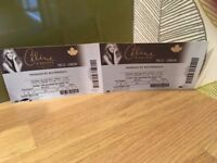 2x Celine Dion tickets - London 30th July - Excellent seats