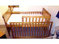 4 Piece Solid Wood Nursery Furniture Set - Waredrobe, Cotbed, Dresser and Wall Shelf