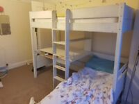 John lewis solid wooden bed frame, with desk and sofa bed below single sleeper. RRP £800.