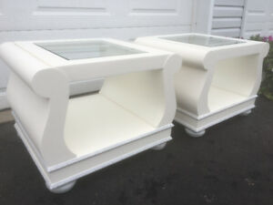 2 Gorgeous sleigh bed style glass top end tables