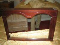 mahogany sliding glass fronted bathroom cupboard