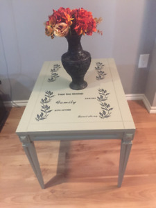 Wood Side table with design on top