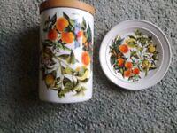 Portmeirion Oranges & Lemons large storage jar and plate