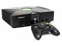 Xbox games console, with 8 games