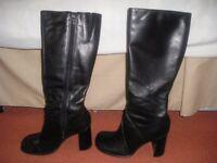 Ladies black knee high boots. Size 5. high heel