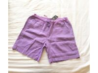 BRAND NEW LADIES LILAC SHORTS - SIZE 10 from M & S