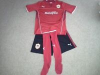 Cardiff City youth Football kit, shirt 30-32inch,shorts 30 inch, and socks 4 - 6 red