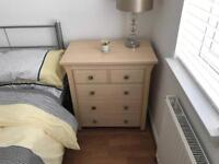 Chest of drawers and matching bed side cabinet.