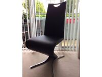 4 modern Z shape black faux leather dining chairs mint condition